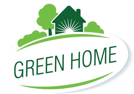 """ilustración vectorial plantilla de logotipo en el tema """"cuidado casa"""", """"casa verde"""", """"eco"""", etc."""