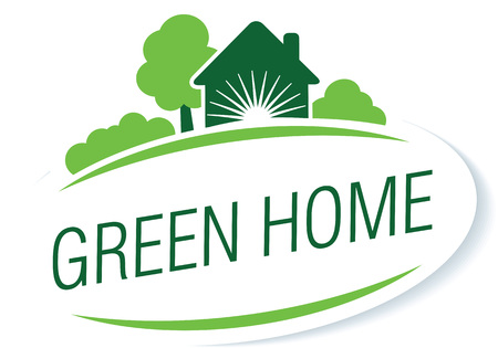 """Vector modello di illustrazione logo sul tema """"cura casa"""", """"casa verde"""", """"eco"""", ecc"""