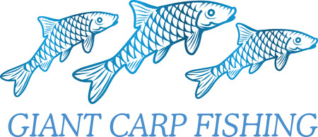 illustration of a carp fish. Element of fishing .