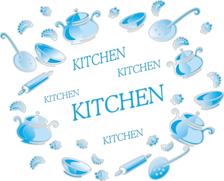 Illustration with kitchen utensils and accessories isolated on white background. Illustration
