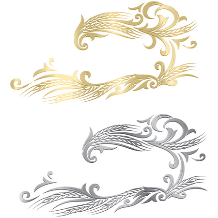 illustration of a few gold and silver ripe wheat ears. Can be used as frame, corner or border design decorative element.