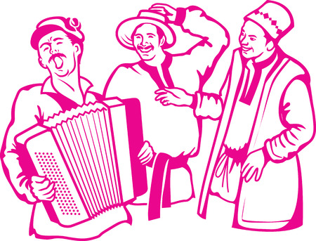 sing: illustration of retro scene three friends have a rest, have fun, play the accordion and sing songs. Illustration
