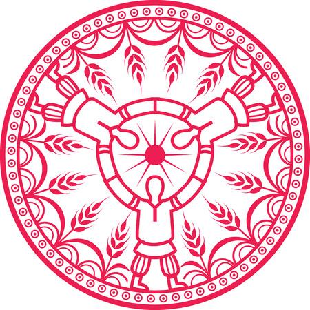 pagan: Harvest. illustration icon in retro pagan style.