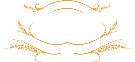 label frame: illustration decorative element a few ripe golden wheat ears on the ribbons.