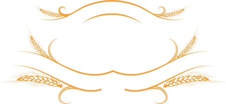 few: illustration decorative element a few ripe golden wheat ears on the ribbons.