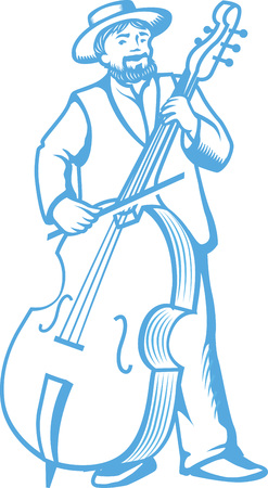 contrabass: illustration of retro contrabass player cellist isolated on white background.