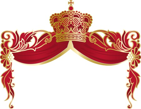 magnific: richly and magnific decorated elegant frame with a monarch crown and red mantle. Illustration