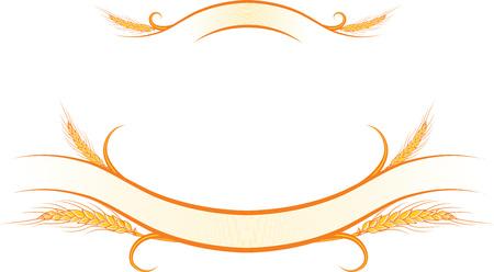 illustrazione decorato con nastri d'oro spighe di grano maturo. Può essere usato come cornice, angolo o disegno del bordo elemento decorativo, per il confezionamento di progettazione.