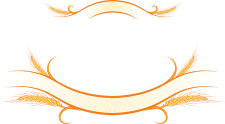 illustration decorated gold ribbons with ripe wheat ears. Can be used as frame, corner or border design decorative element, for packaging design.