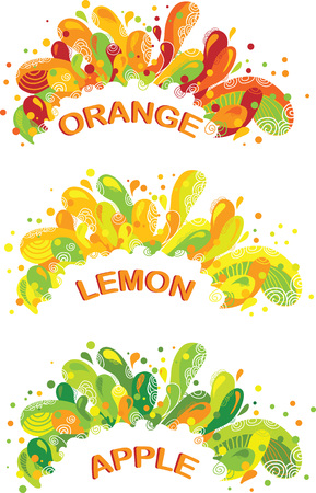 Abstract illustration orange, lemon and apple juice colorful splashes.