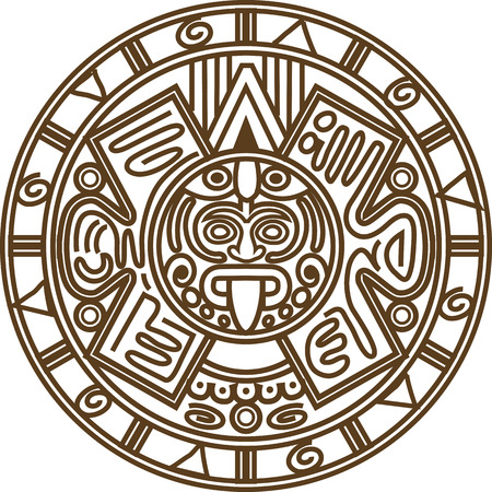 Vector illustration stylized image of ancient Mayan calendar.