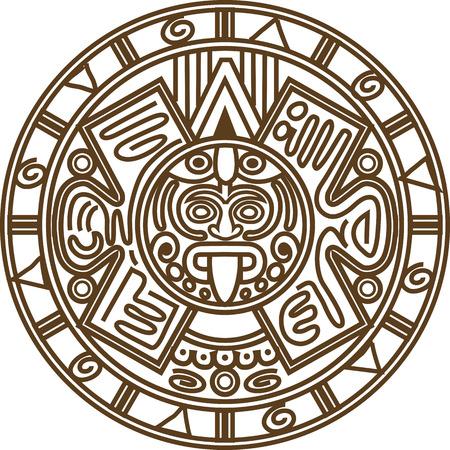 calendar: Vector illustration stylized image of ancient Mayan calendar.