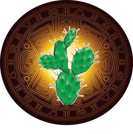 Vector realistic illustration of green large cactus with sharp needles on background of stylized image of ancient Mayan calendar.