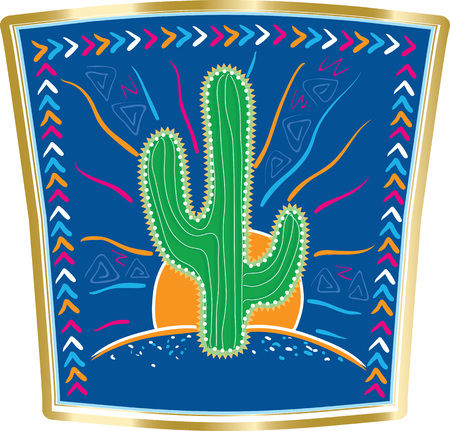 arid: Abstract vector illustration of large Mexican cactus on background blue sky and blue Mexican desert framed by Mexican patterns. Illustration