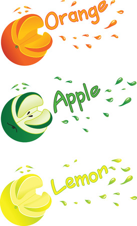 Vector illustration symbolic images of orange, lemon and apple with juice splashes.
