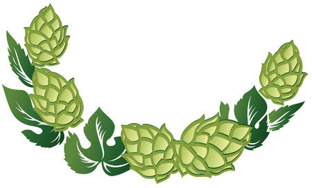 Vector illustration decorative frame of green leaves and hop cones. Vettoriali