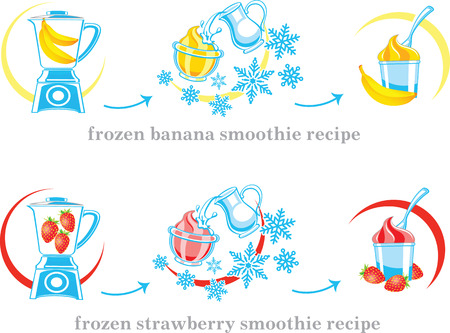 cocktail mixer: Recipe of milkshake, banana and strawberry smoothie with milk and ice cream. Vector illustration. Illustration