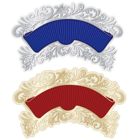 Vector richly decorated red and blue ribbons frames decorated with gold and silver in baroque style.