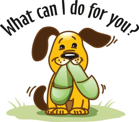 """Ilustración vectorial """"¿Qué puedo hacer por ti?"""" Perro divertido de la historieta lleva zapatillas para su propietario. Foto de archivo - 61924908"""