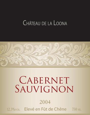 Vector template of white wine label Cabernet Sauvignon. On the label top there is a fictitious brand name Chateau de la Loona .The phrase eleve en fut de chene translates into English as aged in oak barrels.