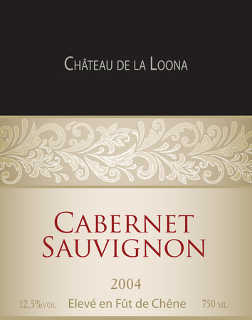 cabernet: Vector template of white wine label Cabernet Sauvignon. On the label top there is a fictitious brand name Chateau de la Loona .The phrase eleve en fut de chene translates into English as aged in oak barrels.