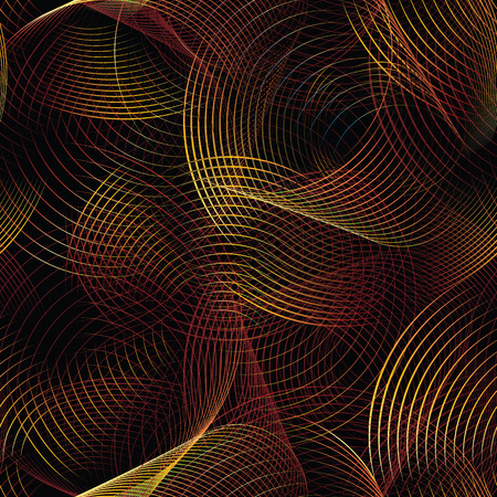 Abstract vector seamless pattern futuristic background with colored circular lines and waves. Decorative element looking volumetric and luminous. Illustration