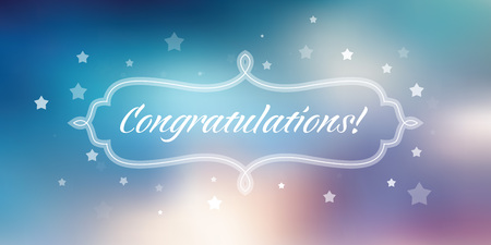 Vector congratulations banner on blue abstract background. Ilustrace