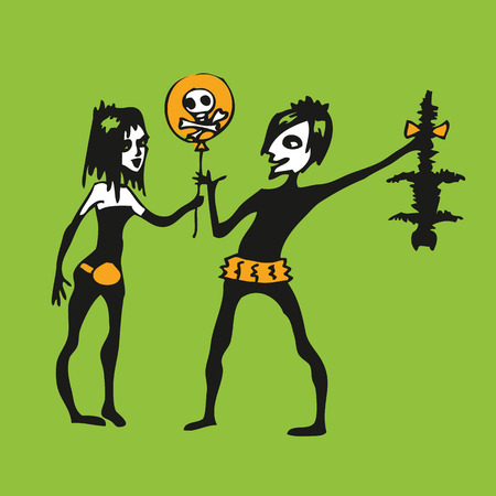 Cartoon couple of young Goths gives each other gifts: balloon with picture of skull and crossbones and dead cat. Vector illustration. Illustration