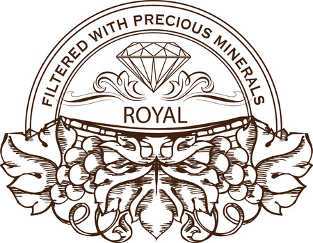 Vintage decorative element with diamond and engraved grape bunches. Vector banner, logo or icon template.