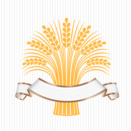 few: White elegant banner with a few ripe wheat ears. Vector decorative element, brand icon or logo template.