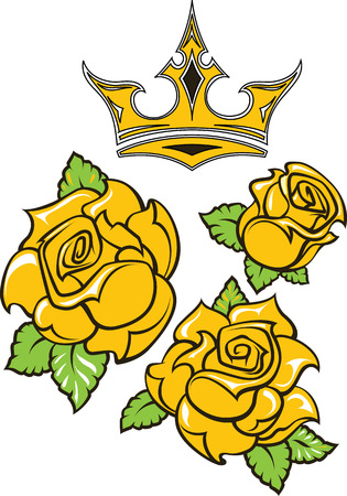 Old-school styled tattoo of three yellow roses with green leaves and gold crown. Editable vector illustration isolated on white background. Illustration