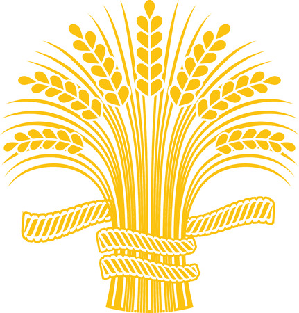Golden ripe wheat sheaf. Vector decorative element, brand icon or logo template.