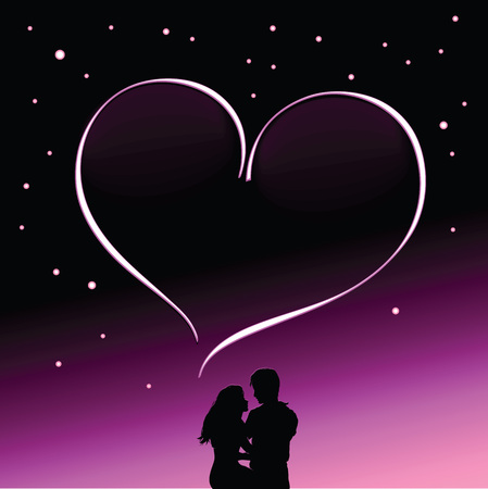 date night: Vector romantic illustration silhouette of couple in love against background of starry night sky. Heart-shaped frame for romantic inscriptions.