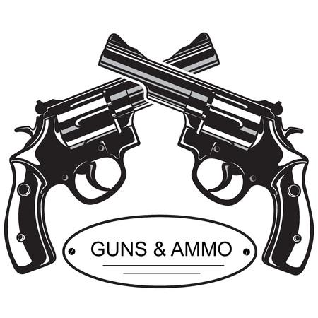 Crossed Revolver Pistols. Emblem, logo with crossed revolver pistols, guns, vector illustration. Stock Vector - 68501093