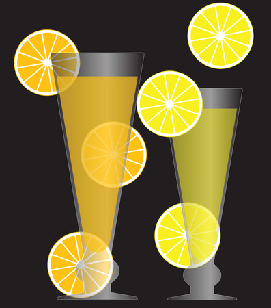 Vector illustration of glasses with fresh cocktails with lemon and orange slices isolated on black background. Vettoriali