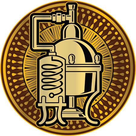 Ilustración del vector de alcohol Cooper unidad de destilación alambique. Plantilla para el logotipo o icono.
