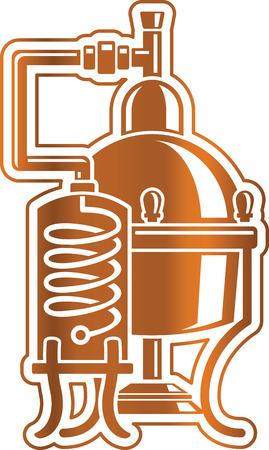 destilacion: Ilustración del vector de alcohol Cooper unidad de destilación alambique. Plantilla para el logotipo o icono.