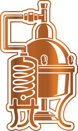 moonshine: Vector illustration cooper alcohol distillation unit alembic. Template for logo or Icon.