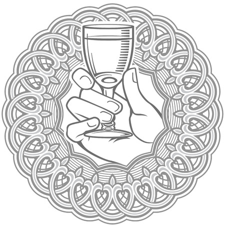 Vector black and white illustration of hand holding glass of vodka encased in circle. Can be used in alcohol drinks decoration, as logo brand icon template. 向量圖像