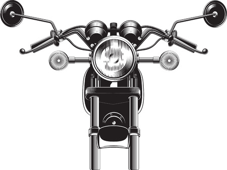 Chopper motorcycle front side isolated on white background black and white vector illustration. Vettoriali