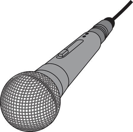Vector illustration microphone isolated on white background. Illustration