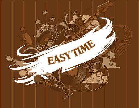 saturday night: Easy time. Entertainment composition - set. Entertainment attributes: club life, DJ, music, dancing, restaurants, bowling, etc. Illustration