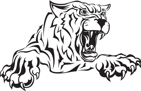 Vector black and white illustration of furious angry face of terrible tiger with open mouth and terrible teeth. Great for use as logo element, icon, as a tattoo or symbol of strength and aggressiveness. Иллюстрация