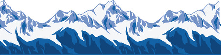 Snow-covered mountains ranges. SEAMLESS ENDLESS vector panorama illustration. Illustration