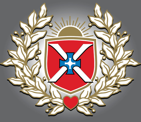 Vector richly and magnific decorated crest with image of triumphal laurel wreath, sunrise, shield, cross and heart. Illustration