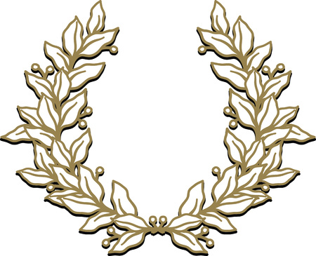 Vector illustration of bronze or golden triumphal laurel wreath isolated on white background.