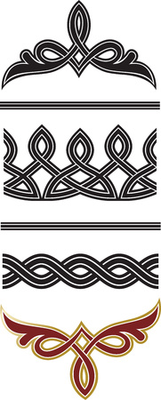 Borders and dividers decorative vignette original elements set isolated on white background for design.