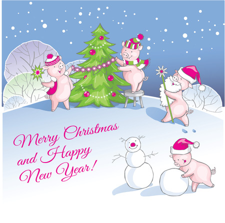 Greeting card, Christmas card with cute cartoon piglets.
