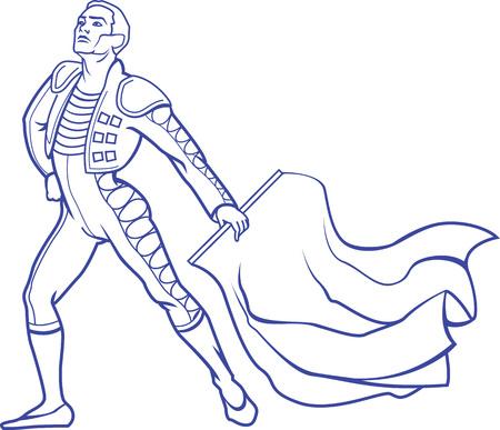 Vektor-Illustration der junge Matador in der traditionellen Kleidung mit roten Lappen Stier ist bereit, mit Stier zu kämpfen.