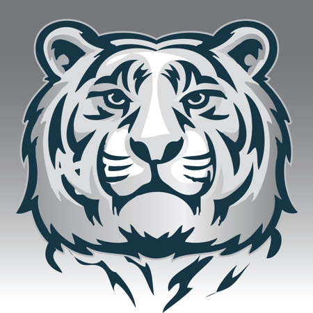 firmeza: Vector black and white illustration calm face of big tiger. Great for use as logo element, icon, as a tattoo or symbol of assurance and firmness.